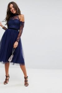ASOS PREMIUM Tulle Cold Shoulder Midi Prom Dress