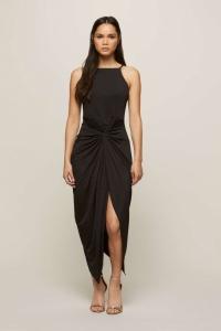 Miss Selfridge Black Twist Drape Maxi Dress