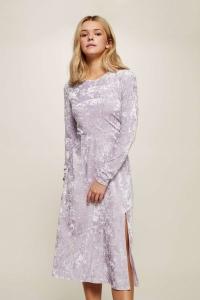 Miss Selfridge Lilac Velvet Midi Skater Dress