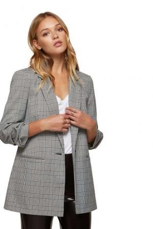 Miss Selfridge Ruched Sleeve Blazer Check