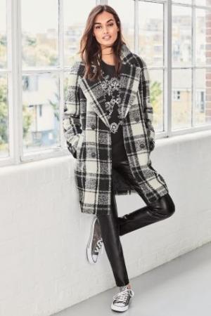 Next Monochrome Wool Check Coat