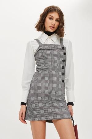 Topshop Button Check Pinafore Dress