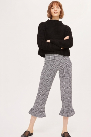 Topshop Check Frill Ponte Trousers