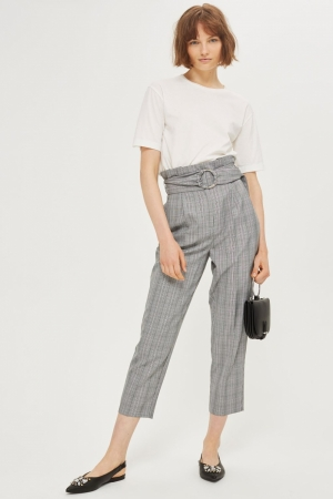 Topshop Check Paperbag Waist Trousers