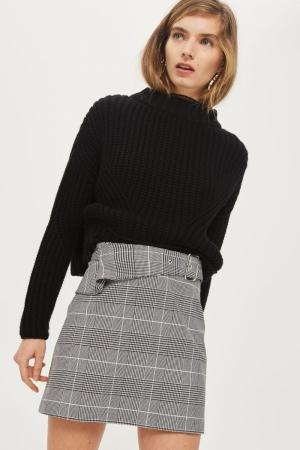 Topshop Checked Buckle Peplum Mini Skirt