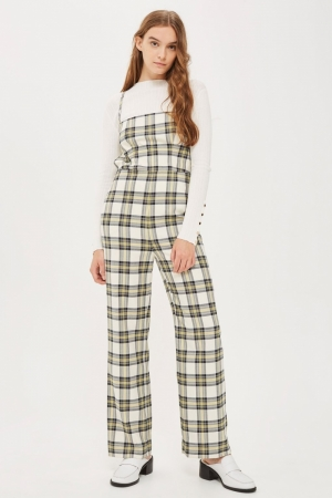 Topshop Checked Bustier Jumpsuit
