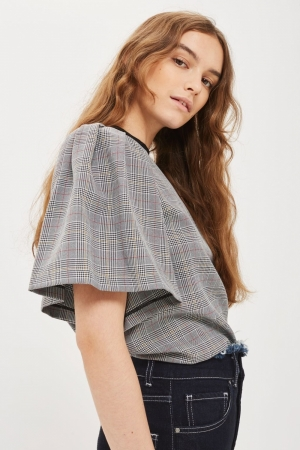 Topshop Checked Flute Sleeve T Shirt