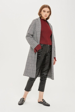 Topshop Checked Jersey Coat