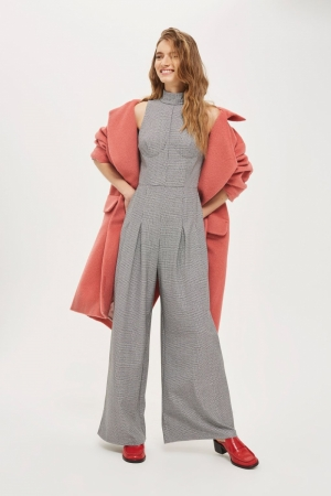 Topshop Dogtooth Checked Jumpsuit