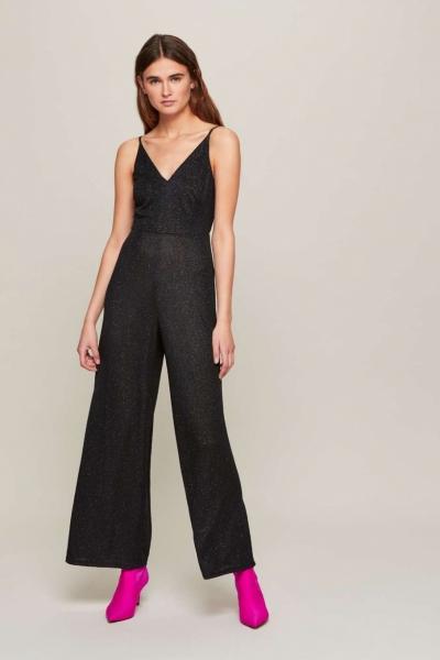 Miss Selfridge Black Glitter Strappy Jumpsuit