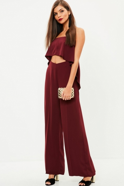 Missguided Burgundy Bandeau Waterfall Jumpsuit