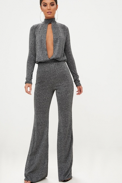 Pretty Little Thing Grey Metallic Keyhole Cut Out Jumpsuit
