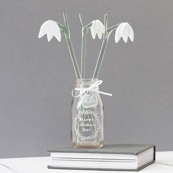 Glass Snowdrop Flowers
