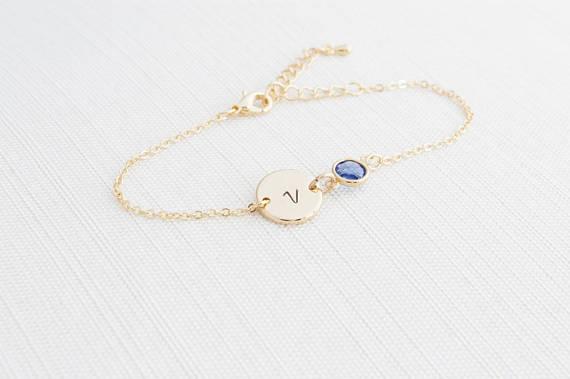 Gold Birthstone & Initial Bracelet