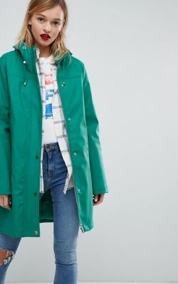 ASOS Borg Lined Raincoat Green