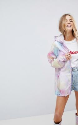 ASOS Co Ord Pastel Spray Paint Rain Jacket With Bum Bag
