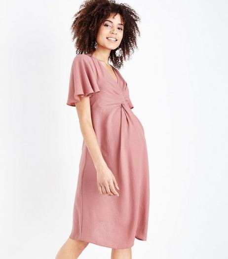 New Look Deep Pink Twist Front Dress