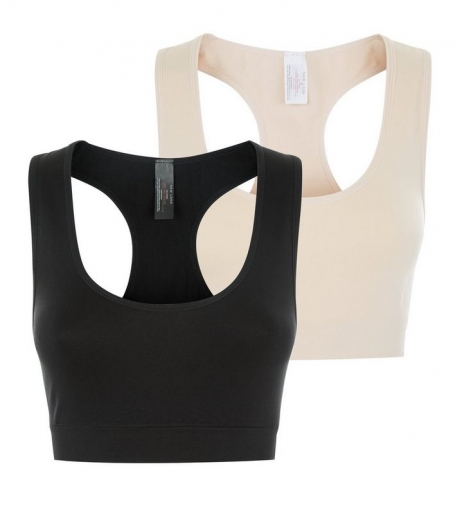 New Look Maternity 2 Pack Black And Stone Bralets