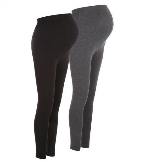 New Look Maternity 2 Pack Grey And Black Overbump Leggings