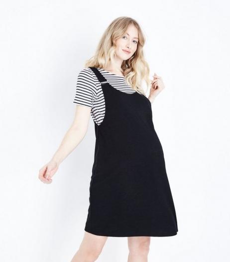 New Look Maternity Black Cross Hatch Pinafore Dress