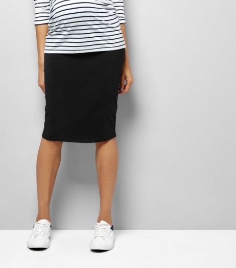 New Look Maternity Black Jersey Midi Tube Skirt