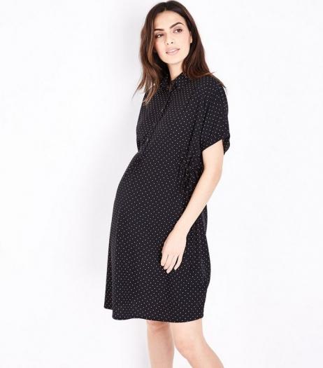 New Look Maternity Black Polka Dot Toggle Waist Shirt Dress