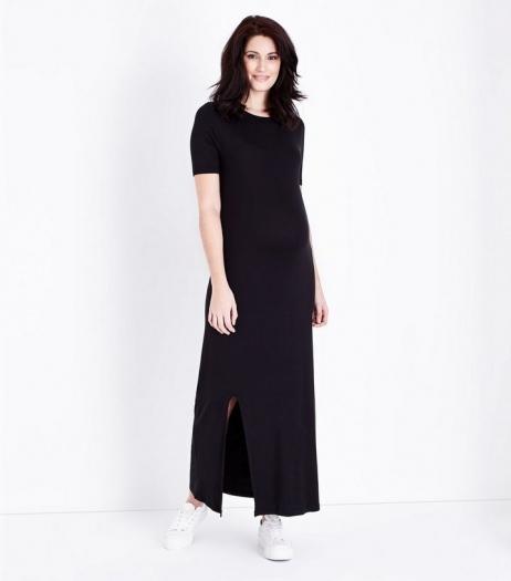 New Look Maternity Black Side Split Jersey Maxi Dress