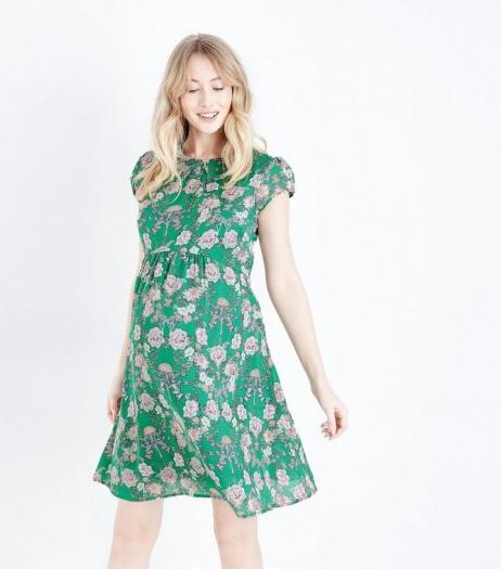 New Look Maternity Green Floral Chiffon Mini Dress