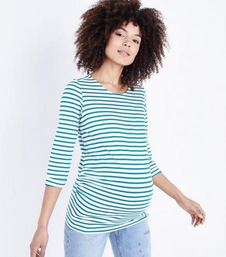 New Look Maternity Green Stripe 3 4 Sleeve T Shirt