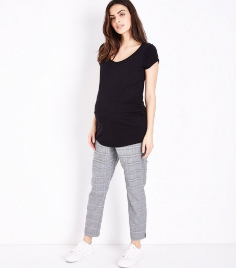 New Look Maternity Grey Check Slim Leg Under Bump Trousers