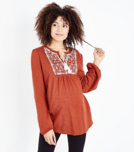 New Look Maternity Rust Embroidered Smock Top