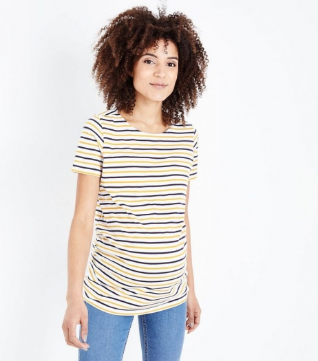 New Look Maternity Yellow Stripe Short Sleeve T Shirt