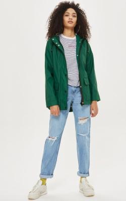 Topshop Hooded Rain Mac Jacket