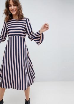 ASOS Column Midi Dress In Stripe