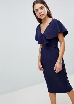 ASOS DESIGN Ruffle Wrap Midi Dress
