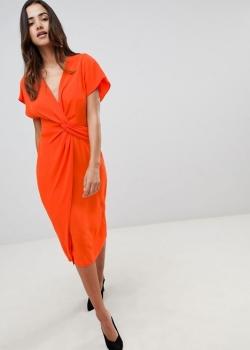 ASOS DESIGN Twist Midi Dress With Kimono Sleeve