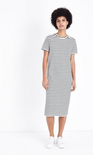 JDY White Stripe Jersey Midi Dress