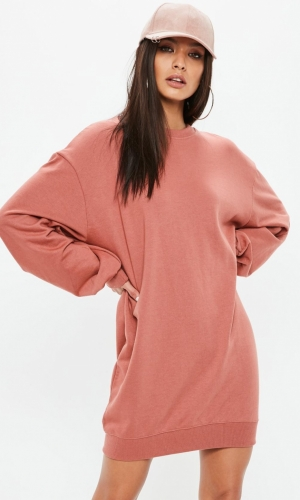 Missguided Pink Balloon Sleeve Sweater Dress