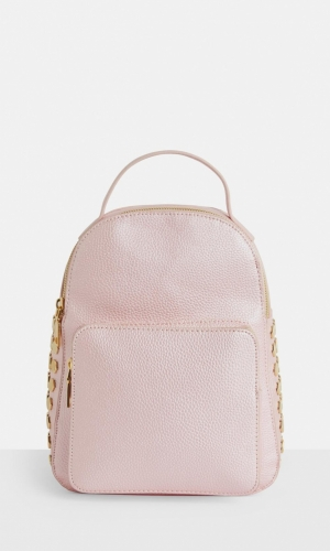 Missguided Pink Mini Side Gold Studded Back Pack