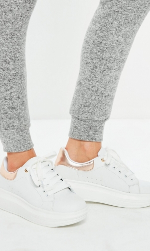 Missguided White Flatform Lace Up Trainers