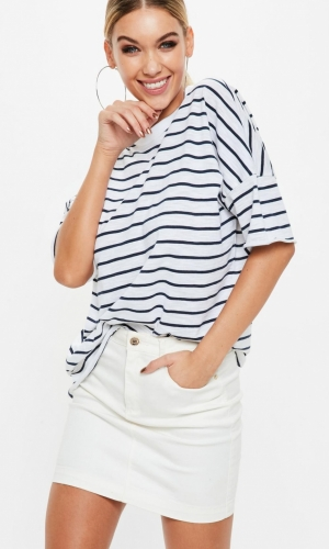 Missguided White Oversized Striped T Shirt