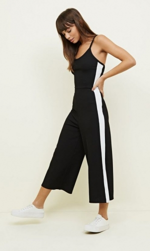 New Look Black Ribbed Side Stripe Jumpsuit