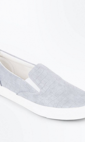 New Look Grey Faux Croc Slip On Trainers