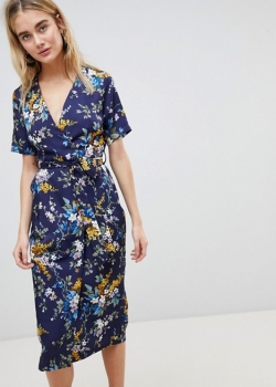 Warehouse Trailing Floral Pleated Midi Wrap Dress