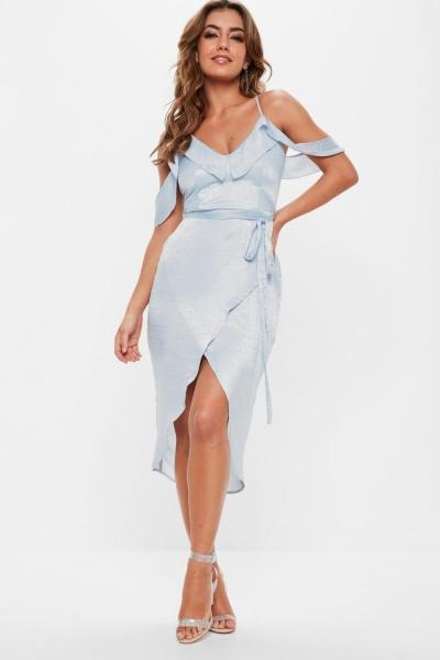 Missguided Blue Satin Frill Midi Dress