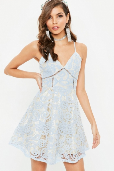 Missguided Blue Strappy Lace Skater Dress