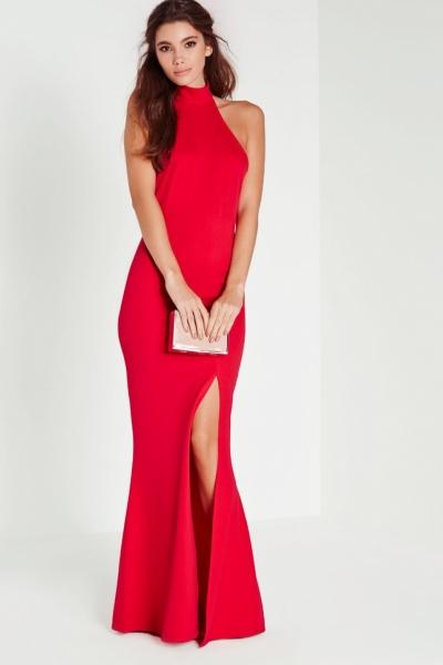 Missguided Choker Maxi Dress Red