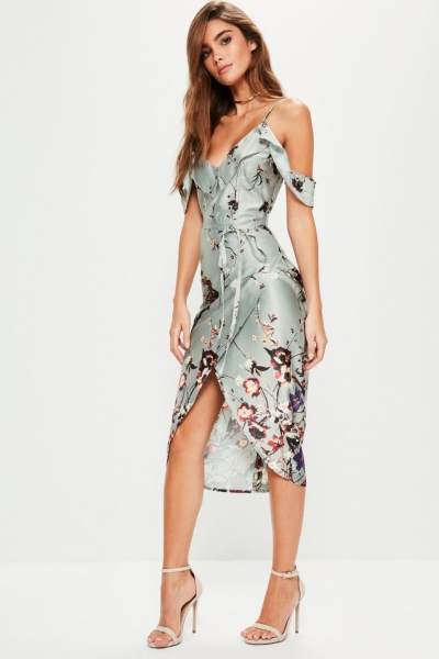 Missguided Grey Frill Floral Midi Dress
