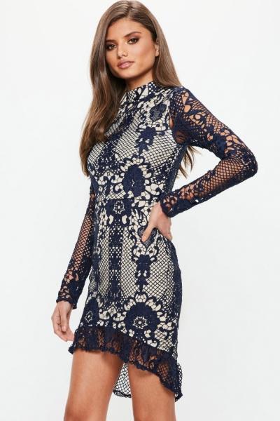 Missguided Navy Lace Frill Hem Long Sleeve Midi Dress