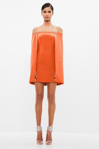 Missguided Peace + Love Orange Bardot Cape Mini Dress